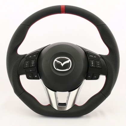 KenStyle Leather (Type-4) Steering Wheel for 2013+ Mazda CX-5